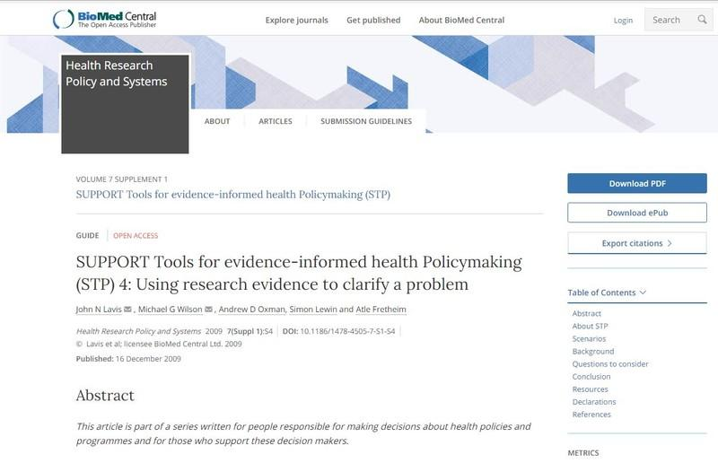 SUPPORT Tools for evidence-informed health Policymaking (STP ... Image 1