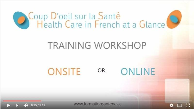 Health Care in French at a Glance - training workshop ad